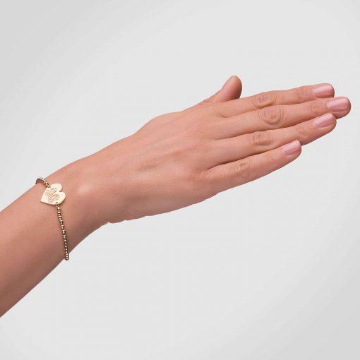 צמיד כדורים פלטת לב חריטת מונוגרם בציפוי זהב