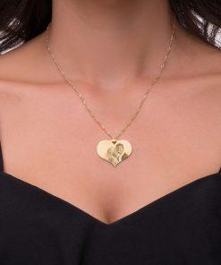 שרשרת לב בשילוב תמונה בציפוי זהב
