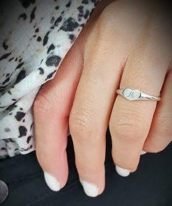 טבעת חותם לב עדינה