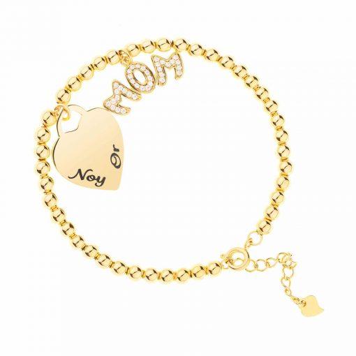 צמיד כדורים בשילוב לב עם חריטה ותליון mom משובץ בציפוי זהב