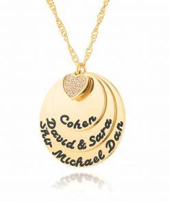 שרשרת חריטות באנגלית עם לב משובץ בציפוי זהב
