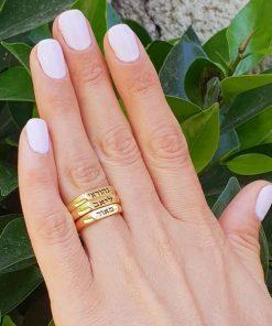 טבעת פס בציפוי זהב