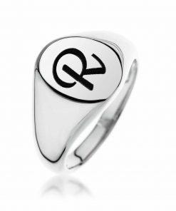 טבעת חותם אובלית מכסף 925