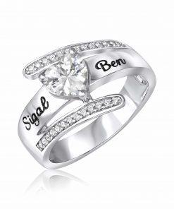 טבעת חיבוק לב מכסף 925