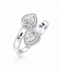 טבעת חיבוק לבבות מכסף 925