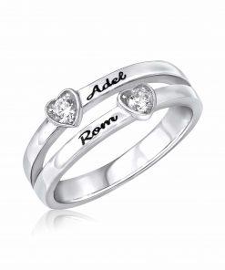 טבעת לבבות מכסף 925
