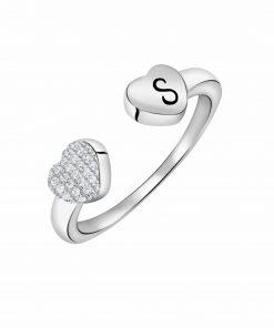 טבעת לבבות פתוחה מכסף 925