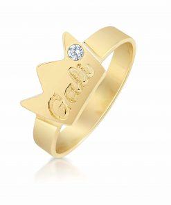 טבעת כתר בציפוי זהב 18K