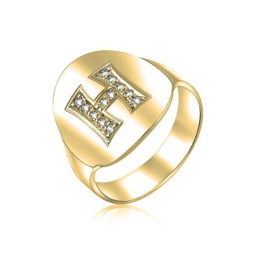 טבעת אובלית בשילוב אות משובצת זירקונים