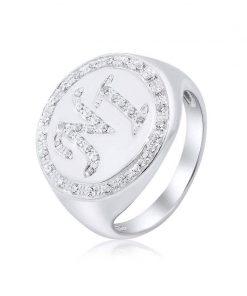 טבעת חותם משובת זירקונים