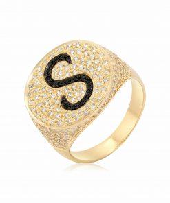 טבעת חותם משובת זירקונים בשני צבעים